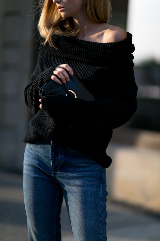 knitted off the shoulder in black and blue denim