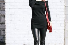 11 off the shoulder tunic sweater, heels and a red bag