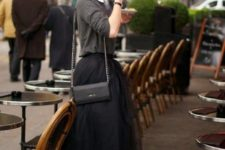 12 black tulle midi skirt, a grey sweater and a white shirt, black heels