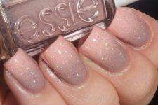 12 blush glitter manicure