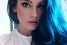 12 deep blue long hair with blue eyes and light complexion are stunning