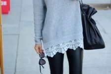 12 leather leggings, a long grey sweater with a lace hem and black flats