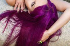 12 straight magenta hair