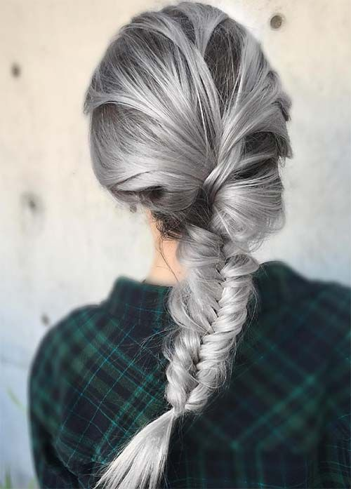black and granny silver hair for a bold look