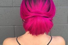 13 black roots and magenta hair in a sleek updo look gorgeous