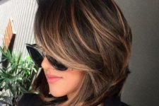 13 brown balayage bob with side bangs