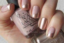 13 color block blush and gold nails