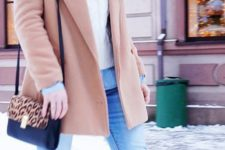 13 knee boots, blue denim, a white cable knit sweater and beanie, a classic camel coat