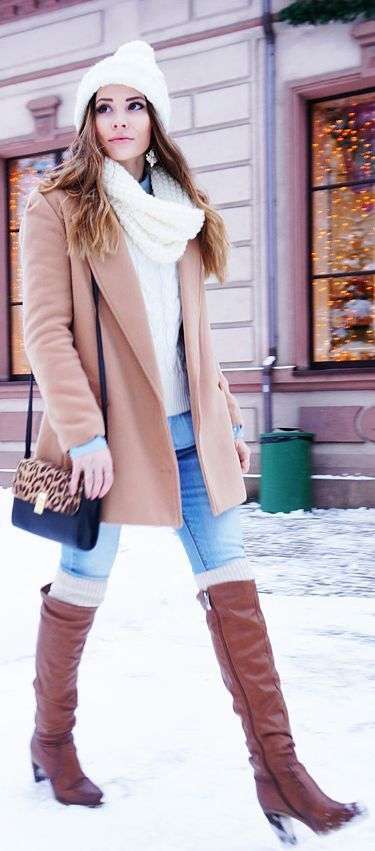 knee boots, blue denim, a white cable knit sweater and beanie, a classic camel coat