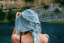 13 long pastel blue hair to feel a mermaid