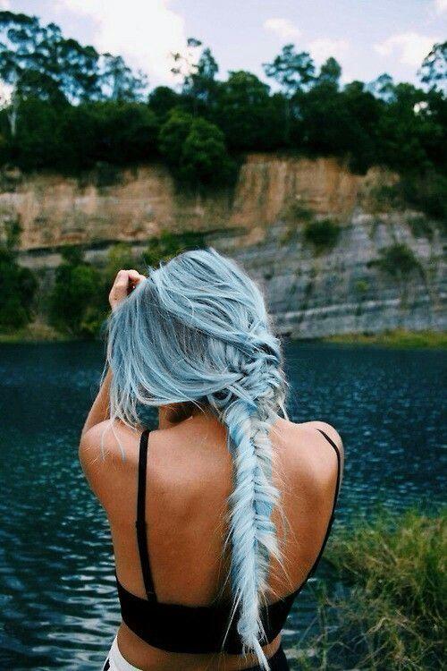 long pastel blue hair to feel a mermaid