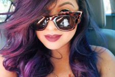 purple ombre hair fading into magenta and lighter purple