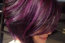 14 asymmetrical purple hair with lighter highlights