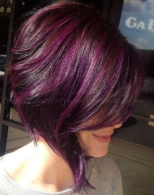 Picture Of Asymmetrical Purple Hair With Lighter Highlights