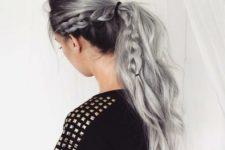 14 black hair and lowlights with grey balayage