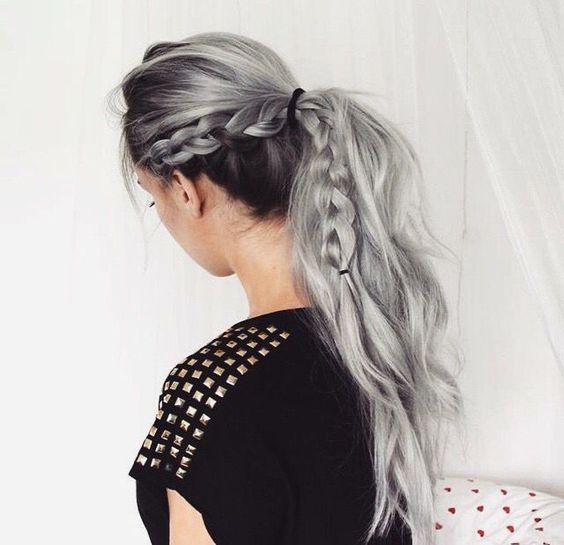 black hair and lowlights with grey balayage