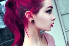 14 black roots and magenta is a bold combo