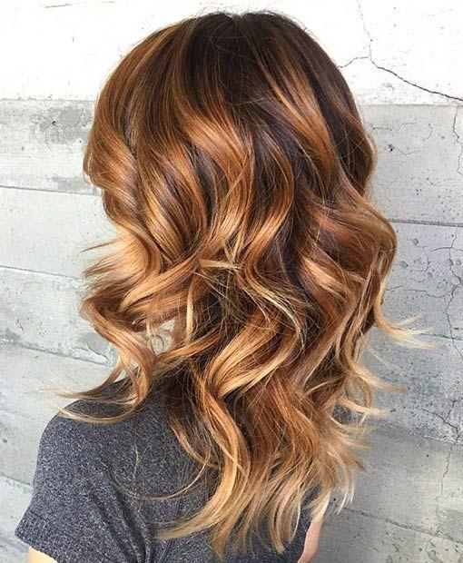brown, dark and blonde caramel hair balayage
