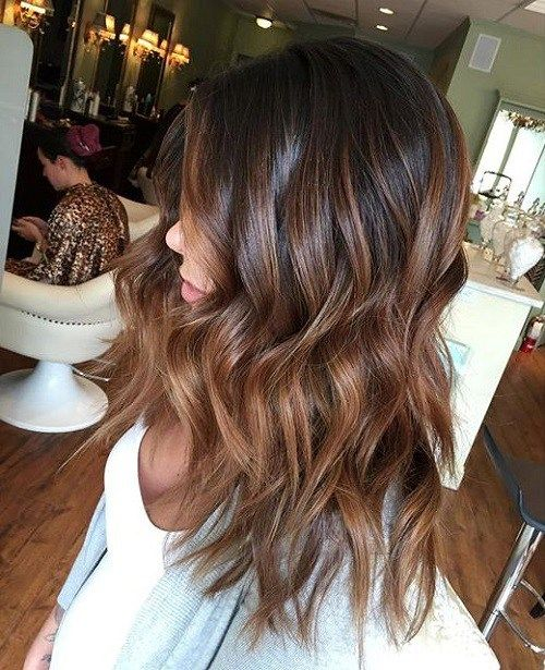 brown hair with caramel balayage