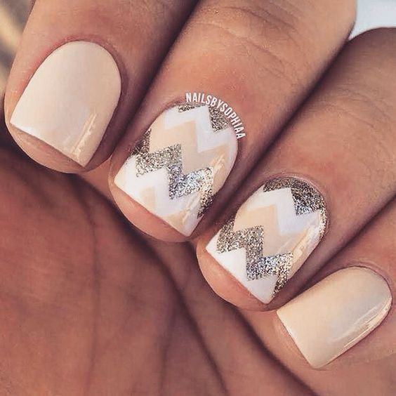 cream nails with glitter and wwhite chevrons