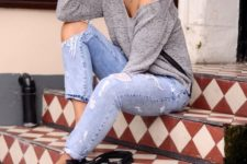 14 ripped jeans, a grey off the shoulder sweater and nude heels