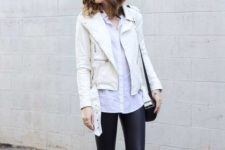 15 a white moto jacket, a white button down shirt and black leather leggings