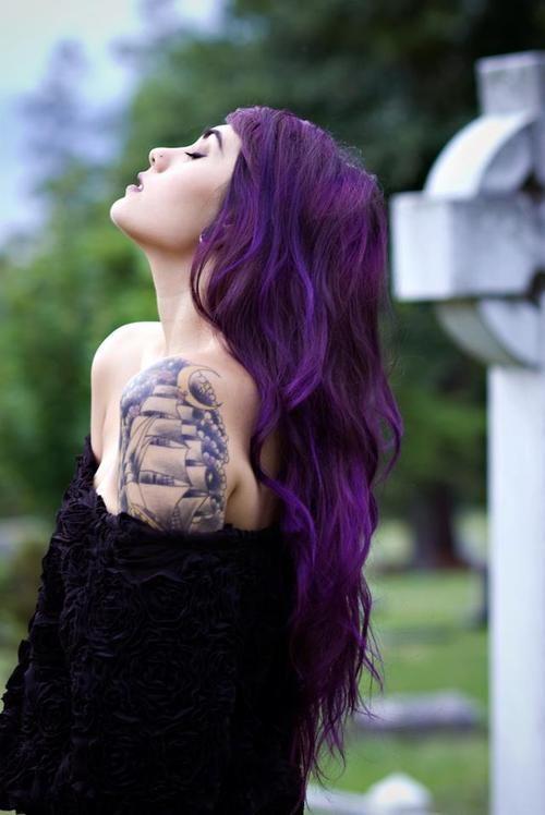 balayage purple long hair with various shades of purple