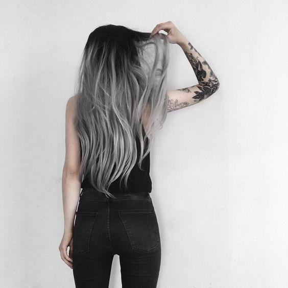 black hair with grey balayage to rock