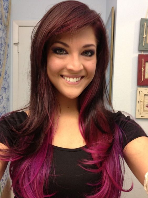 brown hair with sexy magenta and purple highlights