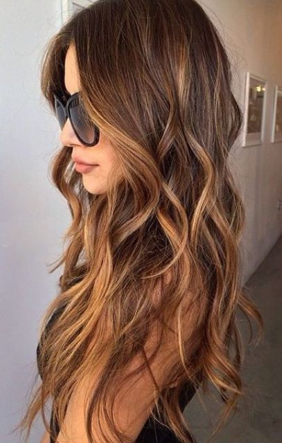 brunette hair with soft caramel balayage