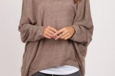 15 grey leggings, a brown sweater and a white tank for sporty style