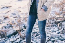 15 layered look with bleached denim, a plaid shirt and a cable knit cardigan
