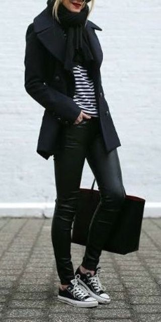 all-black look with stripes, sneakers and a short coat