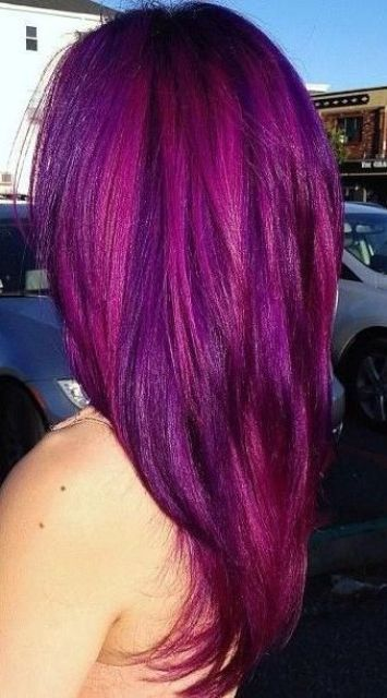 balayage purple magenta hair