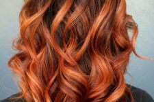 16 black hair roots and copper balayage