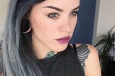 16 black hair with silver grey highlights