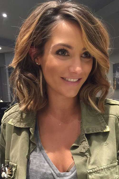 Picture Of Brown Hair With Honey Tone Highlights In A Wavy Bob