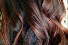 16 dark brown hair with auburn highlights