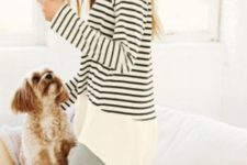16 grey leggings, a long striped shirt with long sleeves