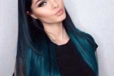 16 navy to turquoise long straight hair