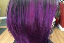 17 black bob with purple balayage