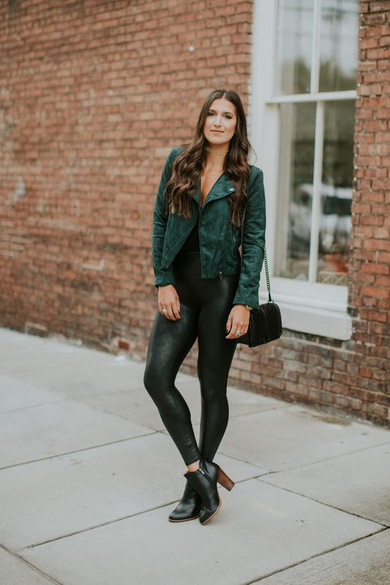 Picture Of Black Tank Top Black Faux Leather Leggings
