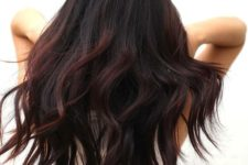 17 cherry highlights on black hair