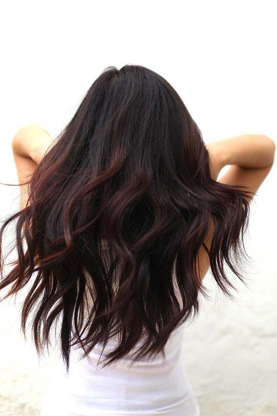 cherry highlights on black hair