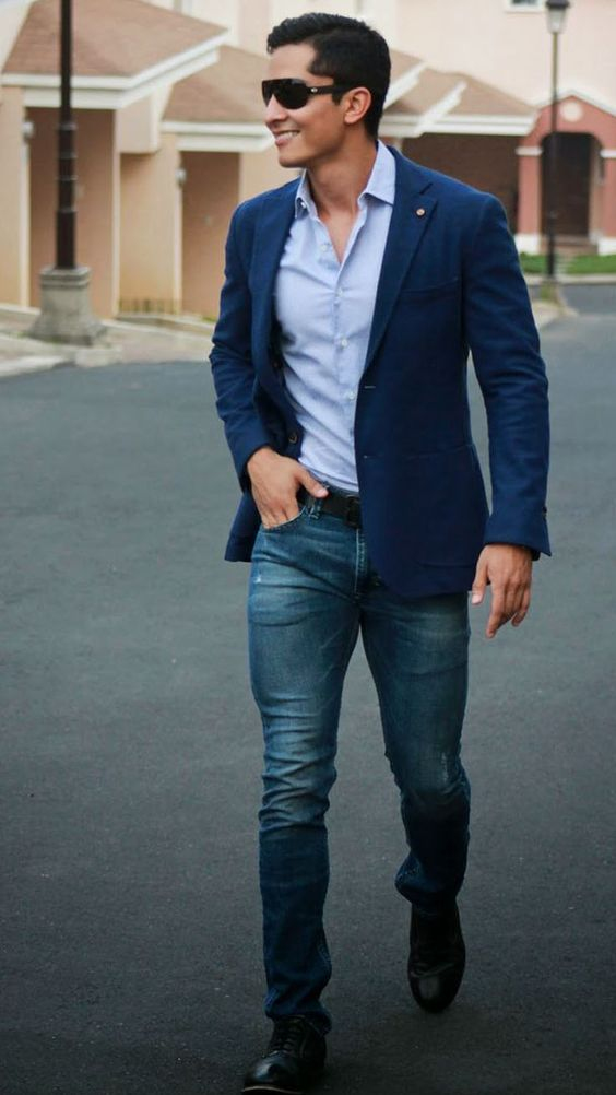 jeans, a blue shirt and a blue jacket