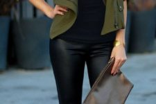 18 black top, and olive green jacket, metallic shoes