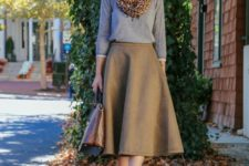 18 comfy fall look with a brown midi, a grey sweater and leopard shoes