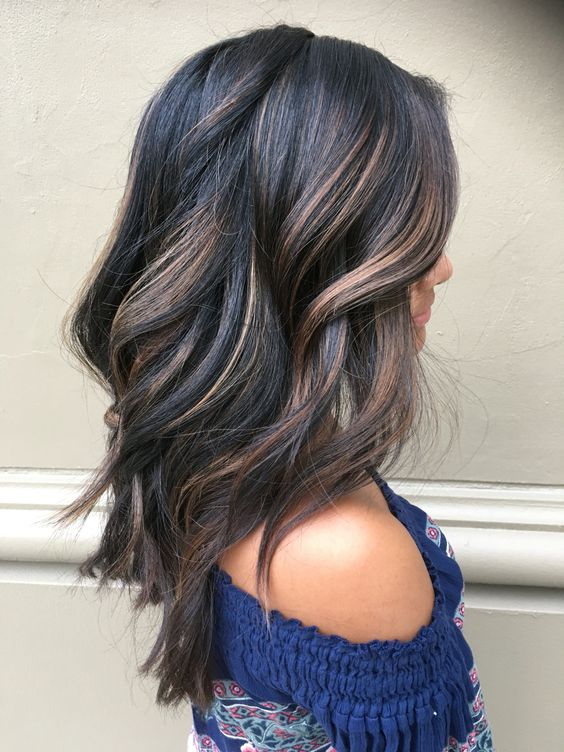 dark balayage hair with dimensions