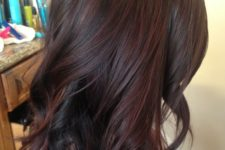 18 dark brown hair with black cherry highlights