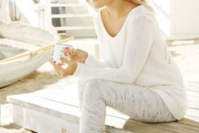 18 neutral leggings and a white light sweater for home